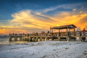 Sunset over Sanibel Island at the fishing pier along Lighthouse Beach Park in Lee County Florida. HDR image created using Photomatix Pro HDR software.